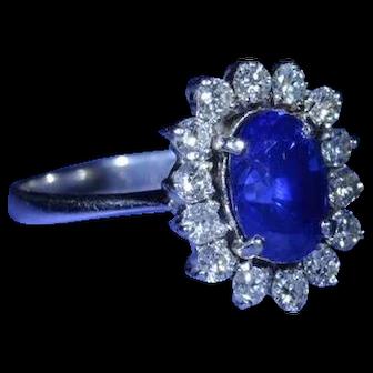 2.37 Carat Oval Brilliant Cut Sapphire Ring