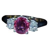 Vintage Pink Sapphire & Diamond Engagement Ring