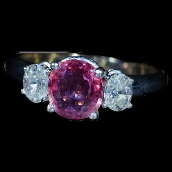 Vintage Pink Sapphire & Diamond Engagement Ring