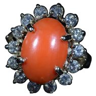 Vintage Coral Cabochon Ring set with 1 carat of Diamonds