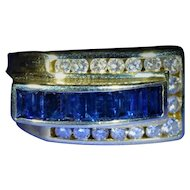 Vintage Buckle Style Sapphire & Diamond Ring