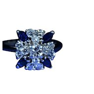 Vintage Sapphire & Diamond Ring in 14K White Gold