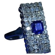 Vintage Art Deco Sapphire Ring 1.50 Carat Sapphire & 2 Carats of Diamonds in 18K white gold