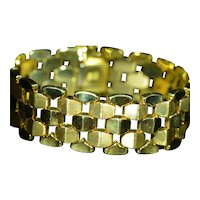 Vintage Retro Modernist Italian Bracelet in 18 Karat Yellow Gold by Milros