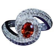 Vintage Swirl Ring Set with Orange Sapphire