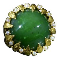 Outstanding Vintage Cocktail Ring Set with Nephrite Jade and Seed Pearls
