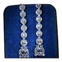 Antique Platinum Diamond Dangler Earrings