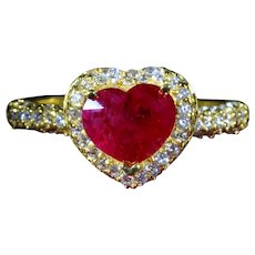 Heart Shaped Ruby Engagement Ring with Pave Diamonds