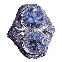 Antique Two Diamond Filigree Ring in Platinum set with 2.30 Carat and 2.48 Carat