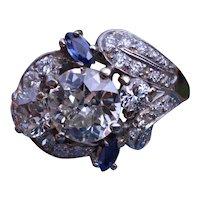 Platinum Art Deco Ring with 2.50 Carat Center Diamonds and Sapphires