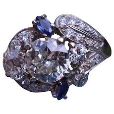 Platinum Art Deco Ring set with 2.50 Carat Center, 1.50 Carats in Mounting, Sapp 32