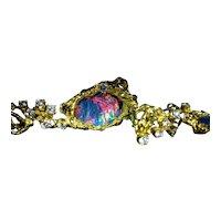 Arthur King Opal Earrings Set with Opal and Diamonds and Fancy Colored Diamonds