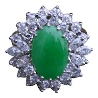 GIA Graded Natural Jadeite Jade Ring set with 2.00 carats Diamonds in 18 Karat