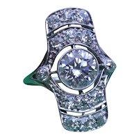 Platinum Art Deco Ring set with 1.63 Carat Diamond and 0.80 carats in Mounting