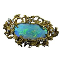 Vintage Arthur King Opal and Diamond Pendant and Brooch in 18 Karat Yellow Gold