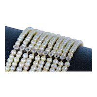 Belle Epoque Filigree Multi Strand Seed Pearl Bracelet Set with Diamonds