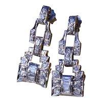 Antique Art Deco Platinum Earrings set with 0.50 carats of Diamonds