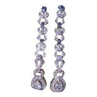 Antique Platinum Dangler Earrings set with Diamonds
