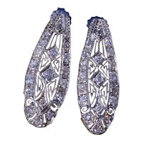 Antique Platinum Filigree Dangler earrings set with Diamonds