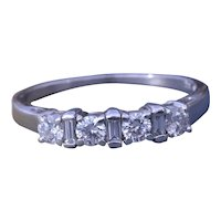Vintage Round and Baguette Cut Diamond Band