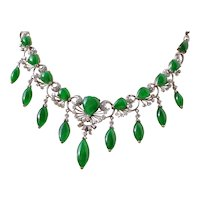 Outstanding Imperial Jadeite A Jade necklace with Diamonds