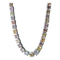 Outstanding Natural Fancy Color Diamond Riviera Necklace