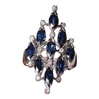 Vintage Modernist Navette Sapphire and Diamond Ring with Natural Sapphires