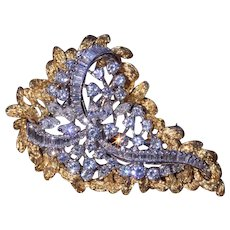 Two-Tone Convertible Brooch with Removable Frame Set with Diamonds