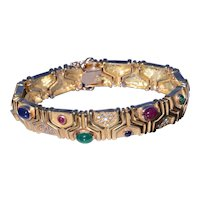 Vintage 1960's bracelet set with Ruby, Emerald, Sapphire and Diamonds