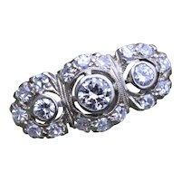 Antique Three Stone Halo Ring