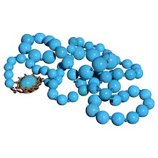 18 Karat & Turquoise Bead Necklace