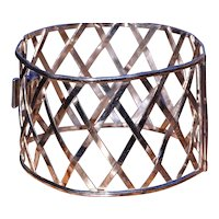 Handmade Woven White Gold English Bangle Bracelet