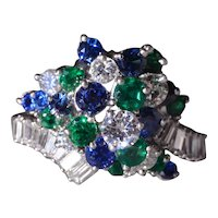 Platinum Ring Sapphire, Emerald, & Diamond Ring
