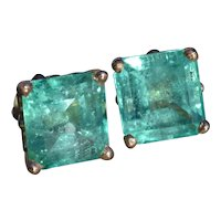 18 Karat Yellow Gold Earrings Set with 6.5 Carats Total Weight of Natural Colombian Emeralds