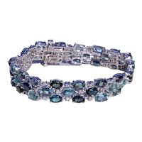 Multicolor Tourmaline & Diamond Bracelet