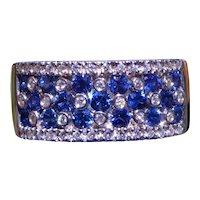 Natural Vivid Blue Sapphire & Diamond Cigar Band