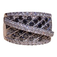 Signed Black & White Diamond Cocktail Ring