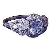 Antique Platinum Filigree Engagement Ring with 1.06 Carat European Cut Diamond