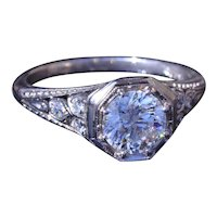 Antique Platinum Filigree Engagement Ring with Serial Numbers