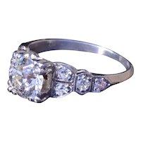 Antique Platinum Engagement Ring with 1.10 carat center