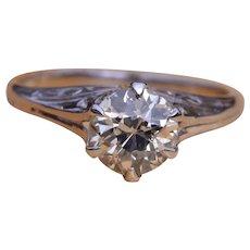 Antique Filigree Solitaire Engagement Ring