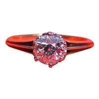Antique Platinum & 18 Karat Yellow Gold Engagement Ring with 0.96 Carat Old Mine Cut Diamond
