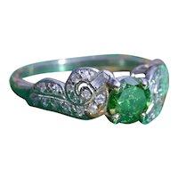 Antique Platinum Engagement Ring with Fancy Vivid Green Diamond Center