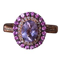 LeVian Signed Kunzite and Pink Sapphire Double Halo Ring