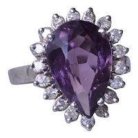 5 Carat Pear Shaped Amethyst and Diamond Ring
