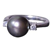Tahitian Black Pearl Engagement Ring