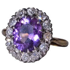 Antique Amethyst Ring with Old Mine Cut Diamond Halo