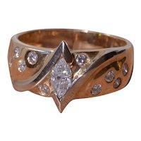 Retro Modernist Diamond Ring with Navette Center