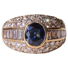 Outstanding Sapphire and Diamond Modified Gypsy Ring