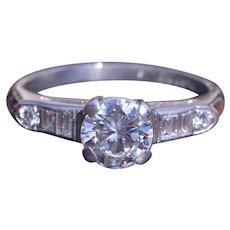 Antique Platinum Engagement Ring set with 0.75 Carat Center